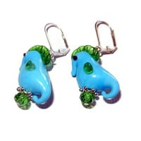 Blue and Green Lampwork Glass Sea Horse Earrings, 3D