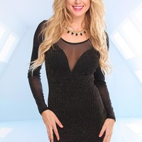 Black Long Sleeve Gold Shimmer Dress with Mesh Detail