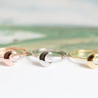 moon knuckle ring,moon ring,knuckle ring, pinky ring, jewelry ring,half moon ring,knuckle ring,pinky ring,R198N