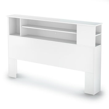 Queen Size Modern Bookcase Headboard in White Wood Finish