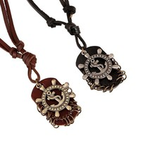 New Arrival Shiny Jewelry Gift Stylish Fashion Accessory Punk Vintage Men Leather Alloy Necklace [6526580675]