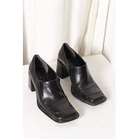 Classic Black Square Toe Ankle Boot / Size 7