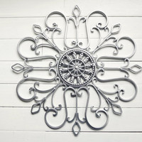 Snowflake / Christmas / Metal Wall Scroll / Outdoor Decor / Wall Medallion / Silver Decor / Indoor Scroll / Wall Hanging / Customize Colors