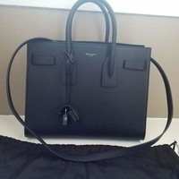 DCCK New $2990 Saint Laurent YSL Black Sac De Jour Small Carryall Leather Bag