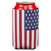 4th of July American Flag All Over Can Cooler