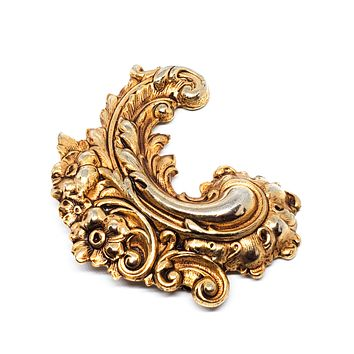 Art Nouveau style forget me not sweeping cartouche brass vintage brooch pin