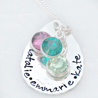 Mothers Day Gift - Mommy Necklace - Hammered Teardrop Necklace with Birthstones- Hand Stamped Sterling Silver Necklace - Gift for Mom
