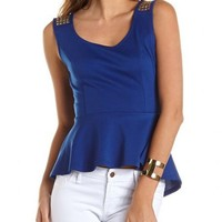 Studded Shoulder Peplum Top: Charlotte Russe