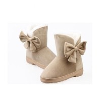 women winter soft warm bowknot flat heels solid Lady snow boots Mid-calf shoes