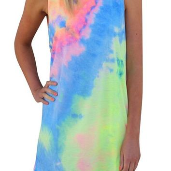 Creabygirls® Womens Sleeveless Tie-dye Round Neck Mini Dress