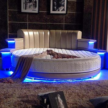 Modern Style Romantic Round White Bed With USB Player And Bluetooth Multifunctional