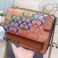 Alwayn COACH Fashion New Multicolor Pattern Print Leather Chain Crossbody Bag Shopping Leisure Shoulder Bag Brown