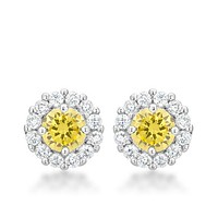 Belle Canary Yellow Halo Stud Earrings | 2.5ct