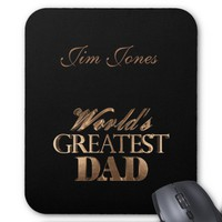 World's Greatest Dad Elegant Black Gold Brown Text Mouse Pad