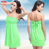 Mainland Sexy Strapless Beach Dress New 2016 Summer Dress Women Beach Dress Swimwear Pareo Beach Wear Beach Cover Up