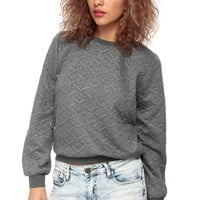 Charcoal Shimmered Crew Neck Sweater