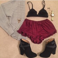 Vee Velvet Ruffle Shorts in Burgandy