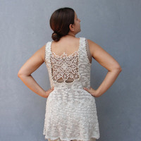 Knitted Tunic Tank Top with Vintage Handmade Lace, Bohemian Top Size Medium