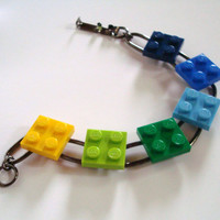 link bracelet with blue green & yellow squares by MissCourageous