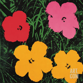 Flowers, c.1964 (1 red, 1 pink, 2 yellow) Art Print by Andy Warhol at Art.com