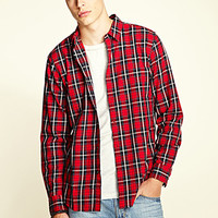 Pocketless Plaid Shirt Red/Black