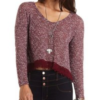 Lace Trim Tulip Slit Knit Top by Charlotte Russe - Burgundy