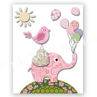 Pink green nursery wall decor baby girl room poster elephant print kids room artwork children room decoration toddler wall art shower gift