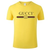 GUCCI street fashion men and women classic logo letters printed short-sleeved T-shirt Yellow