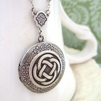 THE ETERNAL KNOT celtic knot locket necklace in antique silver