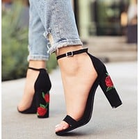 Fasion Women Lady High Heel Shoes New strap buckle rose embroidered with high heels summer fashion sandals