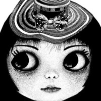 big eye freckle face doll girl straw hat original art print low brow black ink