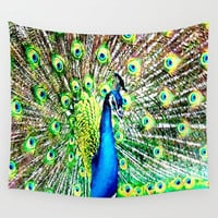 Pretty as a Peacock Wall Tapestry by JT Digital Art