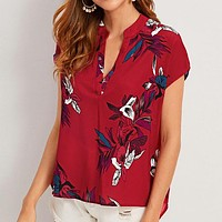 V-neck Floral Print Notched Blouse Womens Tops and Blouses Summer Casual Short Sleeve Blouse Ladies Top