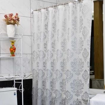 Europe White PEVA Bath Curtains Flower Eco-friendly Waterproof Shower Curtain Bathroom Product Cortina Ducha High Quality