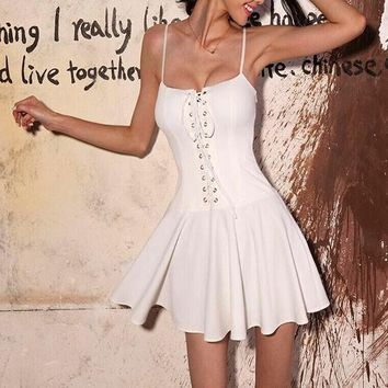 White Plain Draped Spaghetti Straps Lace-up Square Neck A-line Mini Dress