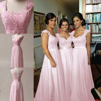 Light Pink Chiffon Corset Long Bridesmaids Dress, Formal Prom Dress