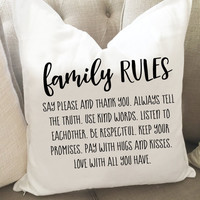 Family Rules Thow Pillow Cover