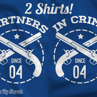 Personalized Best Friends Shirts - Partners In Crime Shirt Matching Couples Shirts Men's Women's BFF