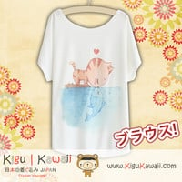 New Cat and Fish Fashionable Loose and High Quality Spring and Summer Tshirt Free Size KK426