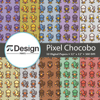 """Final Fantasy Pixel Chocobo 12""""x12"""" Digital Paper Pack of 10 