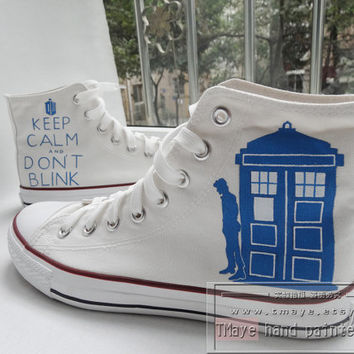 Doctor Who painted shoes painted on local brand only 52Usd 92USD High Top white Blue Canvas for Men Women