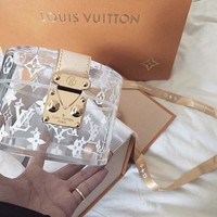 LV Fashion Women Shoulder Bag Simple Louis Vuitton Transparent Crystal Jelly Bag Buckle Handbag Bag Make Up Bag I-AGG-CZDL