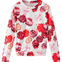 Red and White Floral Sweatshirt