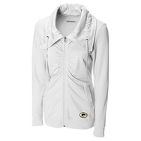 Green Bay Packers Cutter & Buck Women's Squeeze Play French Terry Jacket – White