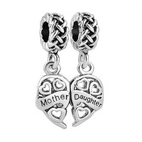 LuckyJewelry Silver Plated Mother Daughter Dangle Heart Charms Sale Beads Fit Pandora Jewelry Bracelet
