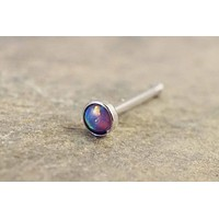 Purple Fire Opal Nose Ring Nose Stud