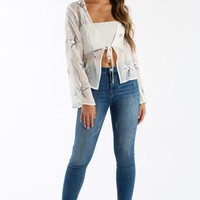 Sparks Fly Sheer Top in White & Silver