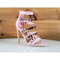"Mac J Light Pink 6 Multi Strap  - 4.5"" High Heel Shoes"
