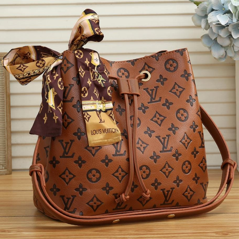 Image of Inseva Louis Vuitton Two-piece LV transparent jelly bucket bag letters print Bucket bag
