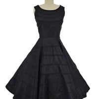 50s Black Taffeta Full Skirt Tea Length Party Dress-S